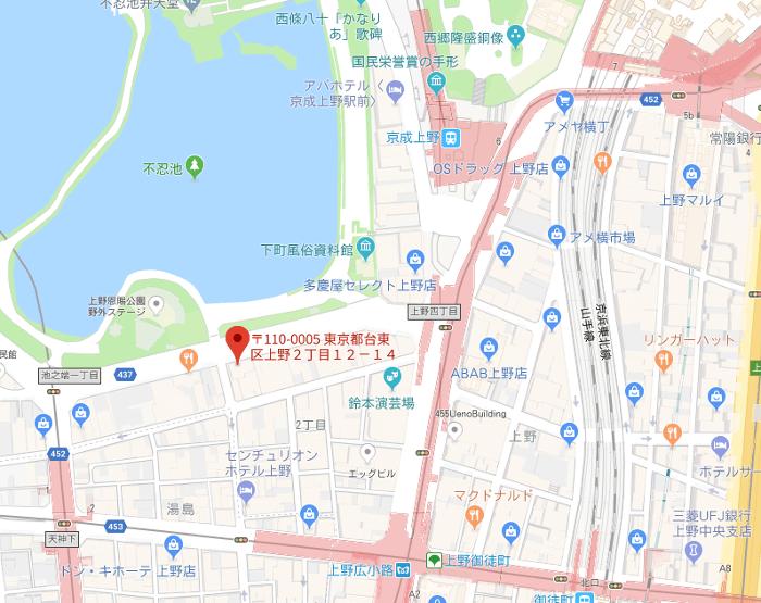 ドンレミー上野地図アクセス