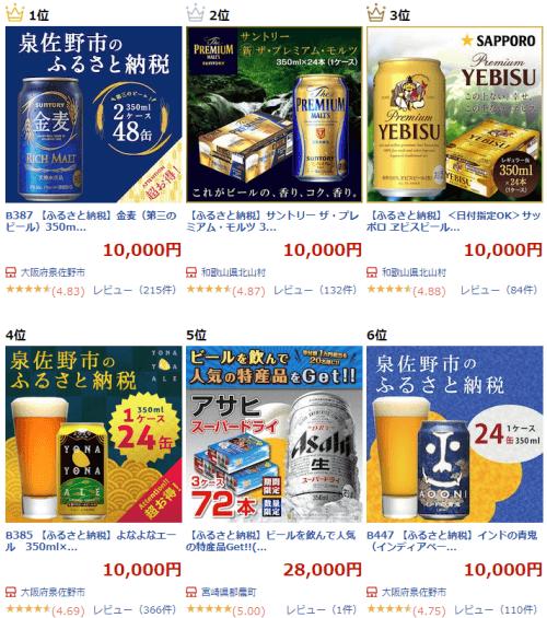 楽天ふるさと納税のビール